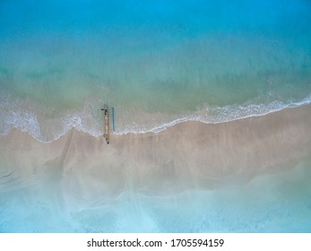 Small wave, Soft wave on sand beach for Slide website, text space. white sand beach, Ocean Wave On Sandy Beach. aerial wave