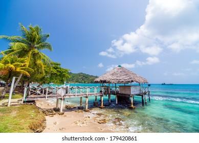 A small wharf in the Caribbean Sea at Sapzurro and Capurgana in Colombia
