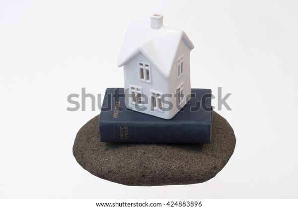 Small White Ceramic House Sitting On Stock Photo Edit Now 424883896