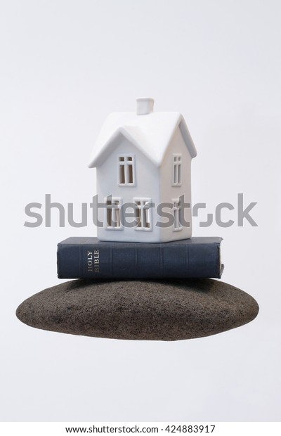 Small White Ceramic House Sitting On Stock Photo Edit Now 424883917
