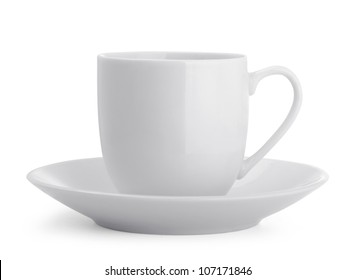 Small white coffee cup isolated on white
