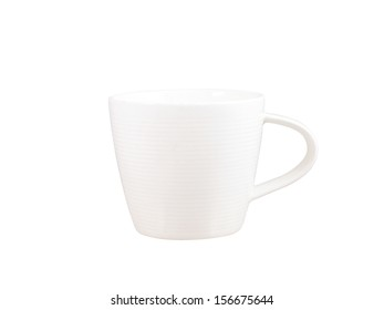 Small white coffee cup isolated on white background,clipping path