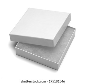 Small White Jewlery Box With Stuffing Isolated on White Background.