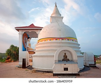 Small white stupa in Unawatuna in Sri Lanka at the sunset