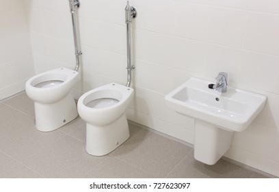 Small White Toilets Sink Faucet Children Stock Photo Edit Now