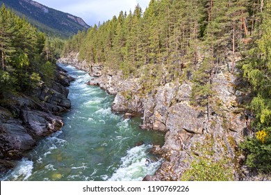 Small and wild river in the Gudbrandsdalen, Norway