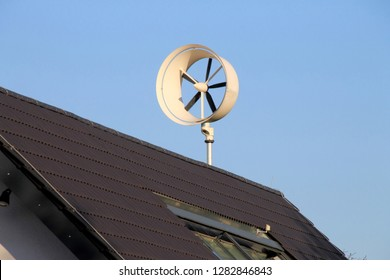 small wind turbine on roof for private using