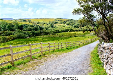Small winding road in the Irish countryside with wooden barrier on one side and stone wall on the other side.