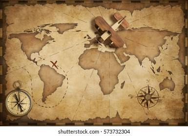 Small wood airplane over world nautical map as travel, explore and communication concept 3D illustration