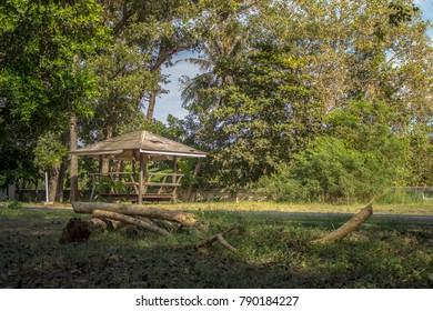 Small wood pavilion in the middle of jungle