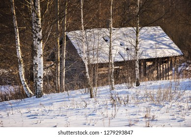 Small wooden blockhouse in the twilight, in winter under the snow in the snowy forest of birch trees, winter landscape