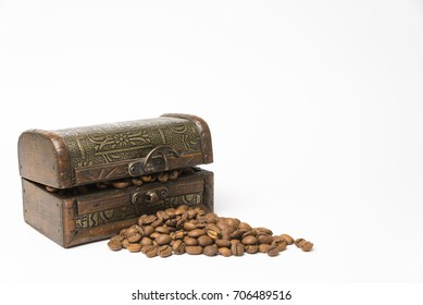 small wooden box with coffee beans on white background.Copy space.
