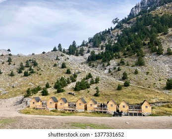 Small wooden cabins for tourists in Prokletije, also known as the Accursed Mountain range in Albania.