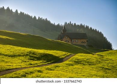 Small wooden church in village of Stoos in canton of Schwyz in Switzerland