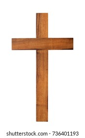 Small wooden cross isolated on white background