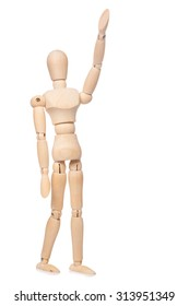Small wooden dummy on white background