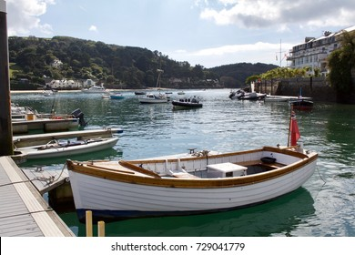 Small Wooden Motor Boat Moored In Salcombe Harbour, England