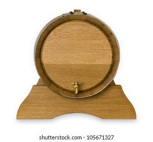 Small wooden oak wine barrel isolated