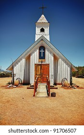 Small wooden rustic church located in the desert near the Superstition Mountains just outside of Phoenix, AZ