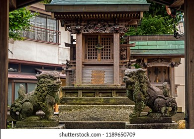 Small Wooden Shinto Shrine with Two Protective Stone Foo Dogs, Close Up View, No People. (Gifu, Japan).