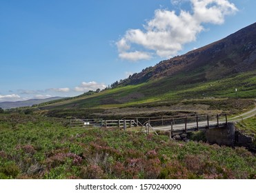 A small wooden single track Vehicle Bridge high up in Glen Mark in the Angus Glens in the Cairngorm National Park, in Angus, Scotland.