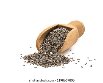 Small wooden spoon or scoop with chia seeds seen from the front and isolated on white background