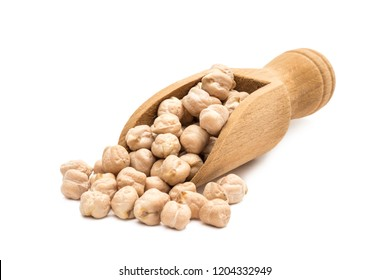 Small wooden spoon or scoop with red chickpeas seen from the front and isolated on white background