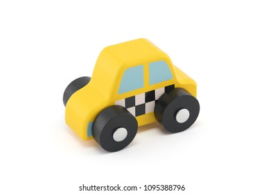 Small wooden taxi car on white background with clipping path