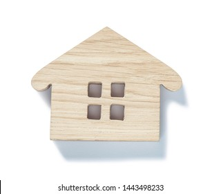 small wooden toy wood house symbol isolated on white