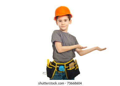 Small worker boy making presentation isolated on white background