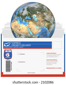 It's a small world, when you ship fast. Earth is a 3D render, the mailer is a clean render of a vector, which uses NO actual trademarks,  copyrighted text, or company logos.