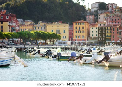 Small yachts and fishing boats in marina of Lerici town, located in the province of La Spezia in Liguria, part of the Italian Riviera, Italy.