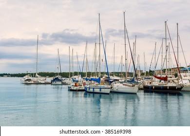 Small yachts in a harbour near Rovinj -Croatia