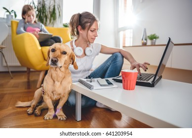 Small yellow dog sitting on the floor by the woman who is petting him at home