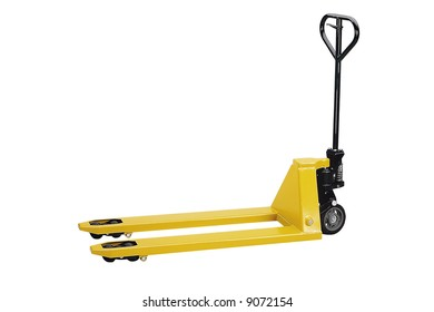A small yellow forklift - isolated