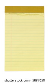 Small yellow lined notepad, with clipping path.