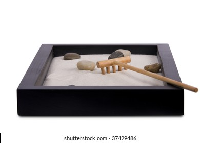 Small zen garden isolated on a white background