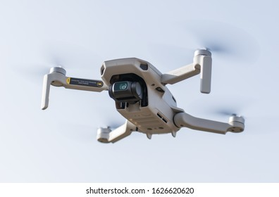 The smallest drone launched by the DJI company. A drone weighing only 249 g- DJI Mavic Mini. Ultra light drone in flight. USA, San Francisco. January, 23, 2020