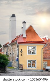 The smallest house, the house of the priest, in the medieval Old city. Tallinn. Estonia.