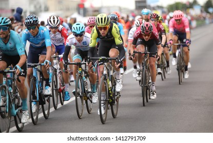 S.Maria di Sala, VE, Italy - May 30, 2019: Tour of Italy also called Giro d'Italia is a famous cycling race with many professional cyclists