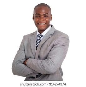 smart african business man with arms folded isolated on white