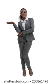 Smart african business woman thinking and presenting something