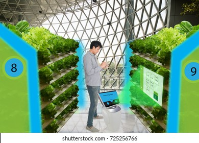 smart agriculture in futuristic concepts,smart farmer monitor, keep tracking data about water level, humidity, ph, ic, carbon dioxide, air and water temperature in the urban o,vertical and indoor farm