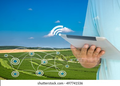 Smart Agriculture and Internet of things in agriculture concept. Farmer using digital tablet to monitor conditions from wireless sensor network in agricultural field.