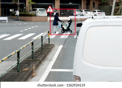 Smart artificial intelligence in autonomous van car with self driving mode technology concept. Self driving car use pedestrian crossing zebra or crosswalk to detects accidents prevent crash.