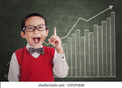 Smart asian student with business chart