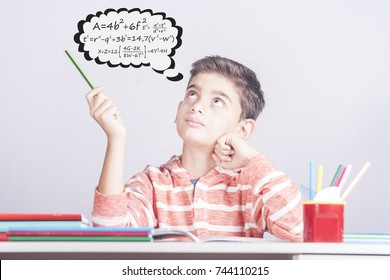 Smart boy doing his homework