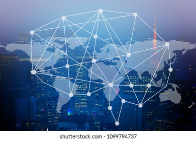Smart brain figure and network business connection on capital city background. element of this image furnished by NASA