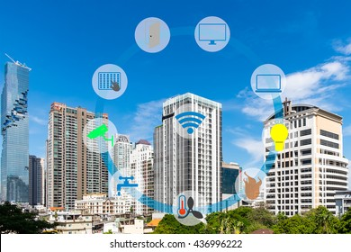 Smart Building and Internet of Things concept. Smart building management icons on Building in the city background.