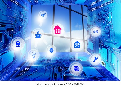 Smart buildings or smarty city concept based on internet of things